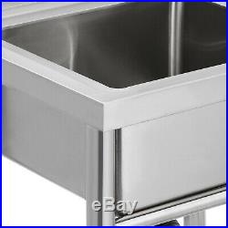 Commercial Stainless Steel Double Bowl Sink Kitchen 99 60 24 cm