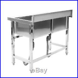 Commercial Stainless Steel Double Bowl Sink Kitchen Handmade Wash Table Kitchen