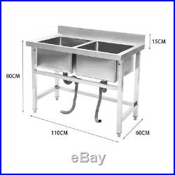Commercial Stainless Steel Double Bowl Wash Catering Kitchen Sink Deep Bowls New
