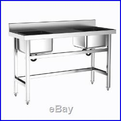 Commercial Stainless Steel Double Bowls Wash Catering Kitchen Sink Work Platform
