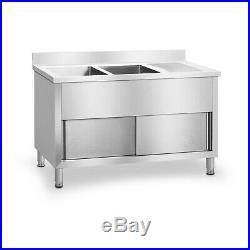 Commercial Stainless Steel Double Sink Basin And Drainer Unit Large Storage Area