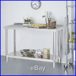 Commercial Stainless Steel Kitchen Food Prep Work Table Bench 2-6FT Wide Worktop