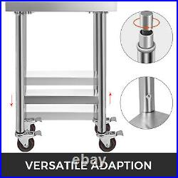 Commercial Stainless Steel Kitchen Food Prep Work Table Bench / Wheels