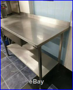 Commercial Stainless Steel Kitchen Prep Catering Table With Draw & Undershelf