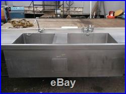 Commercial Stainless Steel Kitchen Sink Double Deep Bowl Pot Wash Heated