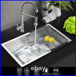 Commercial Stainless Steel Kitchen Sink Square Catering Single Bowl Drainer Set