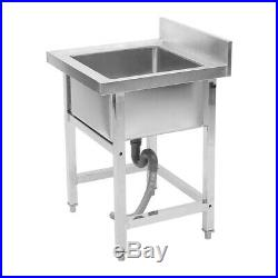 Commercial Stainless Steel Single Bowl Sink Kitchen Washing Basin Freestanding