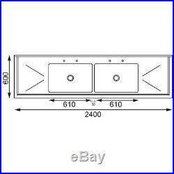 Commercial Stainless Steel Sink Double Bowl and Double Drainer Sink 2400Wx600Dmm