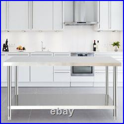 Commercial Stainless Steel Table Catering Prep Work Bench Kitchen Top And Wheels