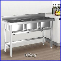Commercial Stainless Steel Three Sink Catering Restaurant Kitchen Wash Table NEW