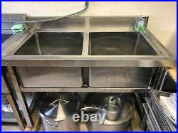 Commercial Stainless Steel Wash Catering Kitchen Sink Work-Table Double TwinBowl