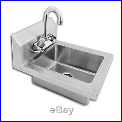 Commercial Wall Mount Kitchen Hand Wash Sink NSF Stainless Steel with Faucet NEW