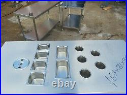 Commercial stainless steel food prep cupboard kitchen worktop table with pots
