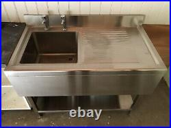 Commercial stainless steel sink, freestanding