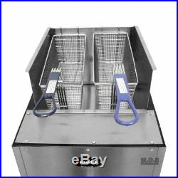 Ematic- Deep Fryer Stainless Steel 21 Qt. Dual Basket Commercial Grade