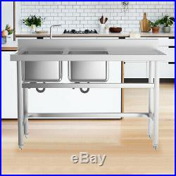 Freestanding Commercial Kitchen Sink Stainless Steel Double Bowl Prep Work Table