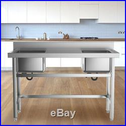 Freestanding Kitchen Sink Stainless Steel Dishwash Bowl Wash Table Commercial