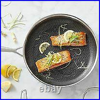 HEXCLAD New Commercial 12'' Fry-Pan with Tempered Glass Lid Hybrid Stainless Steel