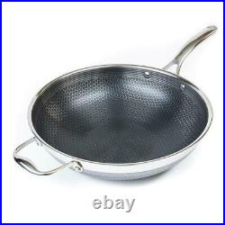 HEXCLAD New Commercial 12'' Stir-fry Wok Hybrid Stainless Steel