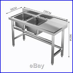 Handmad 2 Compartment/Bowl Commercial Catering Stainless Steel Sink Kitchen Wash
