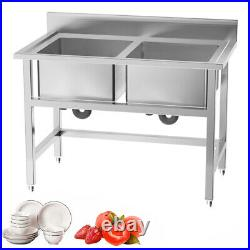 Handmade Stainless Steel Commercial Sink Prep Table Large Stand Kitchen 2 Bowls