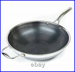 HexClad Commercial Hybrid 12 Stainless Steel Stir-Fry Wok WithTempered Glass Lid