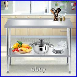 INSMA 4FT Stainless Steel Commercial Kitchen Work Table Bench Catering Worktop