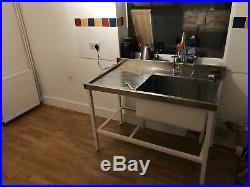 Industrial/commercial stainless steel sink, inc taps, chrome waste & grey shelf