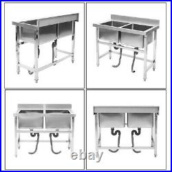 Kitchen Handmade Sink Double Sink Wash Table Commercial Stainless Steel