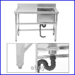 Kitchen Sink 1 Bowl with Right Hand Platform Handmade Wash Table Commercial