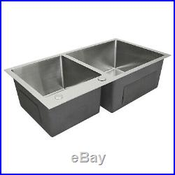 Kitchen Sink Satin Finish Stainless Steel Double Bowl Square Commercial Handmade