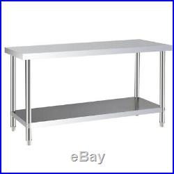 Kitchen Worktop Commercial Work Bench Stainless Steel Catering Table 120cm/150cm