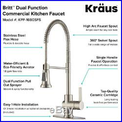 Kraus Britt Single Handle Commercial Kitchen Sink Faucet Stainless Steel Finish