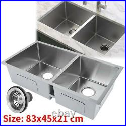 Large Stainless Steel Kitchen Sink Commercial Catering Food Dishes Bowl Drainer