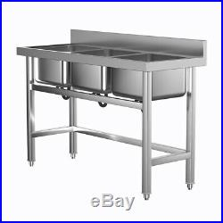 Large Stainless Steel Sink Catering Kitchen Commercial Three Bowl with Drain NEW