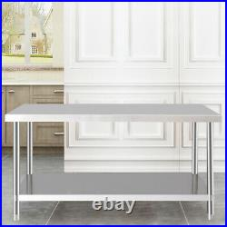Modern Kitchen Prep Table Stainless Steel Shelf Storage Utility Top Commercial