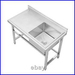 Modern Stainless Steel Commercial Kitchen Single Sink Right Hand Bowl & Drainer