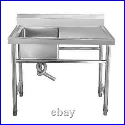 NEW Stainless Steel Commercial Sink Single Bowl Kitchen Catering Table UK