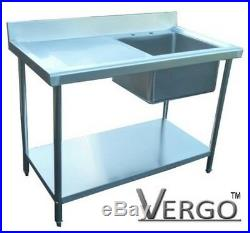 New Commercial Catering Kitchen Stainless Steel Sink 120cm 3.95ft Single Bowl
