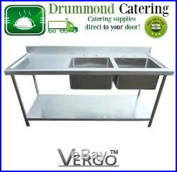 New Commercial Kitchen Stainless Steel Sink 4.9ft 1.5m Double Bowl Sink