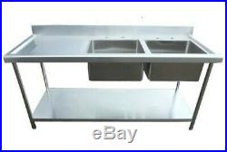 New Commercial Stainless Steel Kitchen Sink 1500MM Dbl Bowl 4ft Left Drainer