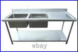 New Commercial Stainless Steel Kitchen Sink 1500mm Twin Bowl Right Drainer