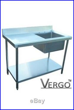 New Sink Commercial Catering Kitchen Stainless Steel 1000mm Left Hand Drainer