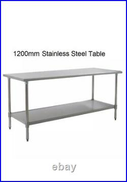 New Stainless Steel Commercial Kitchen Table + Under Shelf 1200mm