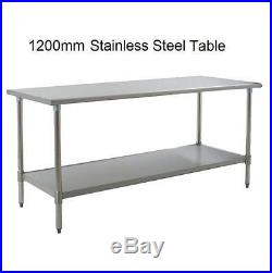 New Stainless Steel Commercial Kitchen Table + Under Shelf 120cm 3.93ft