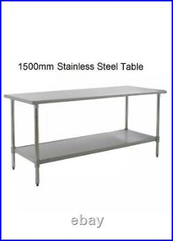 New Stainless Steel Commercial Kitchen Table + Under Shelf 150cm 4.92ft