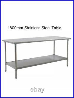 New Stainless Steel Commercial Kitchen Table + Under Shelf 1800mm 6ft