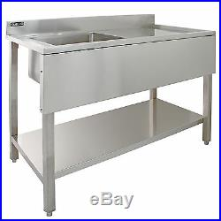 Sink Stainless Steel Commercial Catering Kitchen Single Bowl 1.0 Unit RH Drainer