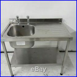 Sink Stainless Steel Commercial Catering Kitchen Single Bowl Drainer