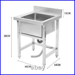 Stainles Steel Mount Standing Kitchen Sink/Basin Single Bowl Commercial Catering